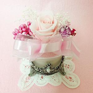 アンティークなガラスの花器のプリザーブドフラワーの贈り物ミルフィーユ、プレゼント /誕生日/母の日/記念日/送料無料 lpm0008