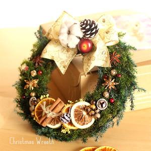 白いリボンのオレンジとスパイスのクリスマスリース lpm0108
