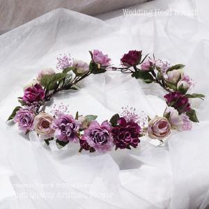 パープル系のミニローズとカスミソウの花冠 lpm0121