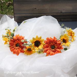 ガーベラとひまわりの花冠 lpm0122