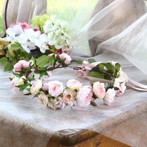 Happy Wedding  ふんわりピンクローズの花冠