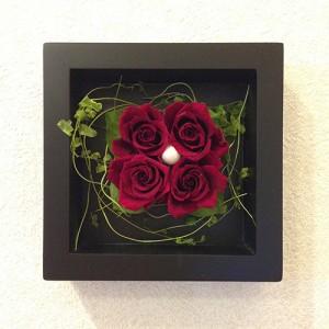 プリザーブドフラワー 壁掛け 額 木製 フレーム レッド/誕生日/結婚祝/花/プレゼントlpm0018