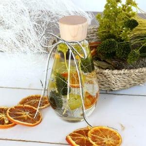 ハーバリウムギフト ドロップボトル オレンジ&グリーン
