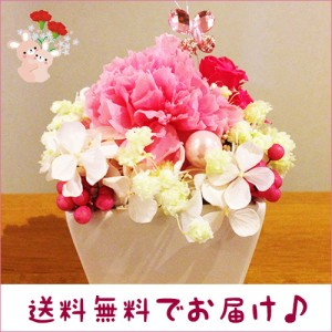 プリザーブドフラワー プチギフトはピンクのかわいいカーネーション母の日/誕生日/愛妻の日/ホワイトデー送料無料